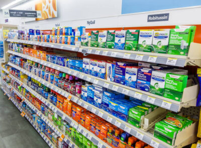 Walgreens pharmacy, over-the-counter medicine, cough, cold and flu relief. (Photo by: Jeff Greenberg/Education Images/Universal Images Group via Getty Images)